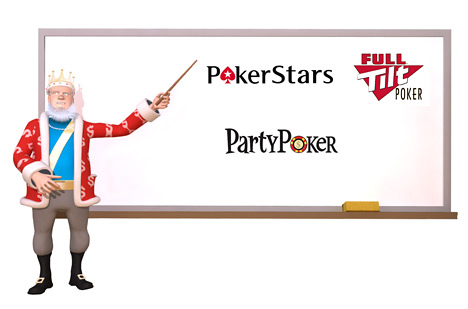 The King is teaching about the Online Poker Rooms - PokerStars Full Tilt and PartyPoker