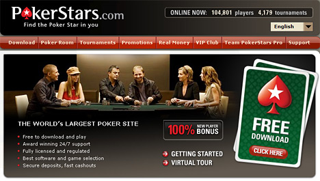 Website homepage screenshot - Pokerstars.com
