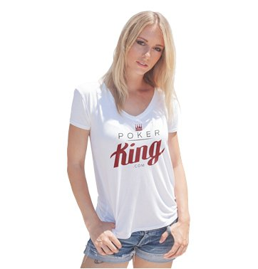 Good looking Blond girl with blue jean shorts wearing Poker-King.com white T-shirt