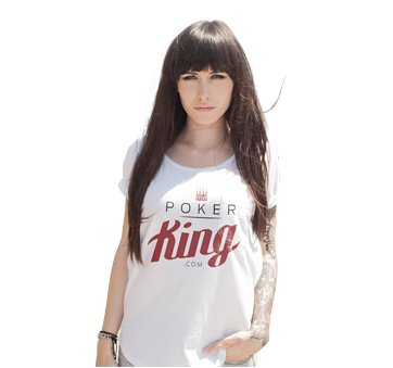 Poker King assistant - very good looking brunette - is wearing the site logo on her shirt