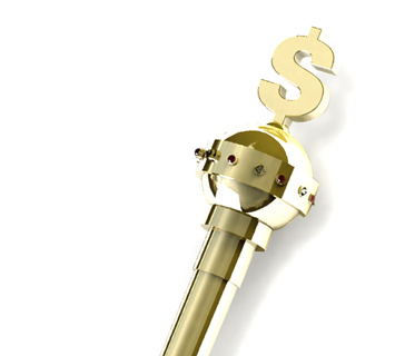 The golden cane with a dollar sign at the top belongs to the Poker King.