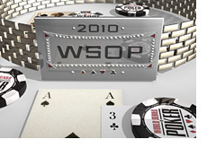 -- 3d illustration of 2010 WSOP bracelet and chips --