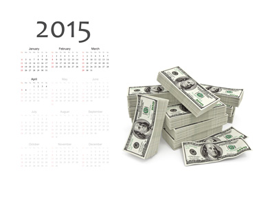2015 Cash Winners - Calendar up to April 6 and a pile of Cash