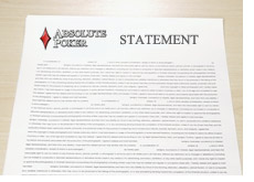absolute poker issues a statement in regards to the poker scandal