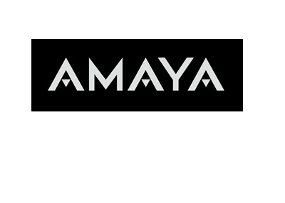 Amaya company logo - White lettering on a black background.