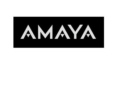 Amaya company logo - White lettering on a black background.