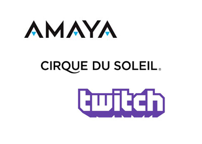 Amaya Gaming Inc., Cirque du Soleil and Twitch.tv logos