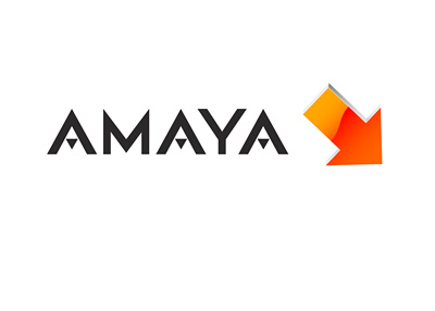Amaya company logo and an red arrow pointing down