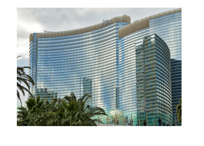 Aria Las Vegas - Photo of hotel and resort from the outside on a cludy day.