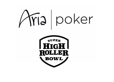 The Aria Poker - Super High Roller - Logo in black and white.