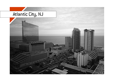 Areal view of Atlantic City, New Jersey, USA - Waterfront.  Year is 2018.