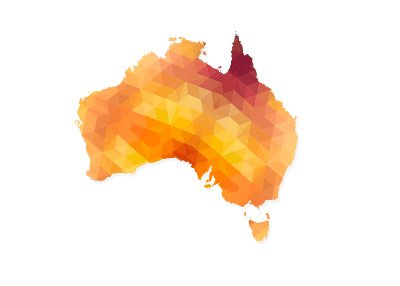 Map of Australia designed in vector polygonal shapes.  The colour is red and orange.