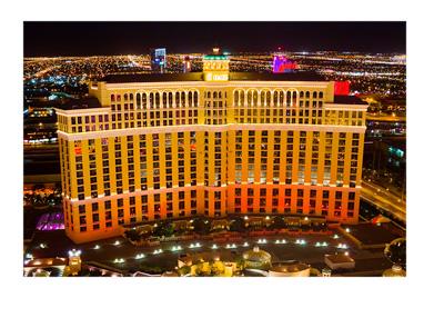 Hotel Bellagio in Las Vegas filmed from birds eye perspective.  Night shot.