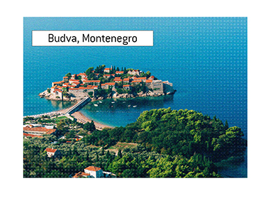 Sveti Stefan, Budva, Montenegro.  Areal view on a sunny day.  Adriatic Sea.