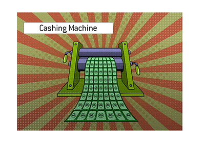 Poker player Shaun Deeb has been quite a cashing machine lately.  Illustration.