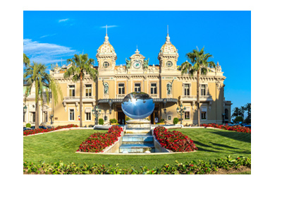 Casino Monte Carlo - Main entrance - Beautiful sunny day - Globe art feature in front.