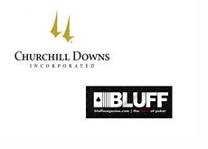 Churchill Downs logo and Bluff Media logo