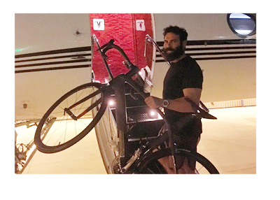 Dan Bilzerian bicycle bet - Getting on the plane with a bike - Instagram photo