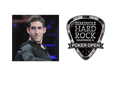 Daniel Colman photo next to Seminole Hard Rock Poker Open 2015 logo