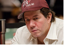 David Benyamine - Wearing a red Full Tilt Poker hat