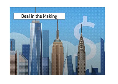 A large settlement deal is in the making.  New York.  Illustration.
