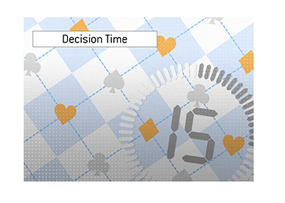 Decision time in online poker is a big deal in this day and age.  Illustration.