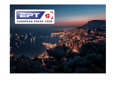 The Monte Carlo 2018 edition of the European Poker Tour - Beautiful night shot from a distance and logo superimposed.