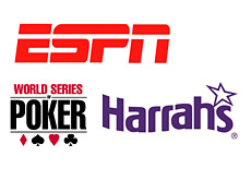 espn logo - wsop logo and harras casino logo - world series of poker final table television airing issue - topic