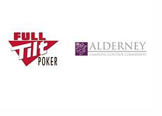Full Tilt Poker logo next to Alderney Gambling Control Commission logo