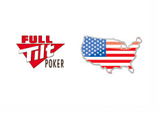 Full Tilt Poker logo and map / flag of USA