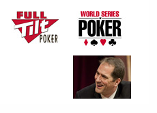 Full Tilt Poker logo, World Series of Poker logo and a photo of Phil Gordon