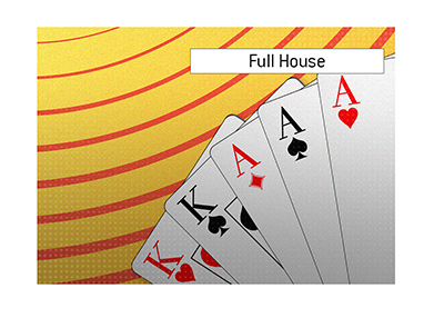 The illustration of a Full House in the game of poker.  Two Kings and three Aces.