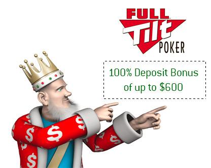 The King is pointing towards the Full Tilt Poker Promo - 100% Bonus up to $600 Free