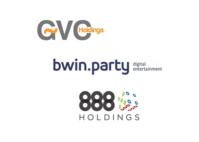 GVC Holdings, Bwin.Party Entertainment and 888 Holdings - Company logos - Tug of war / Takeover concept