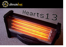 ultimate bet logo - hearts 13 - poker player - on a heater