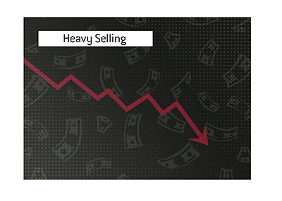 Heavy selling of a stock.  Price tanks. Illustration.