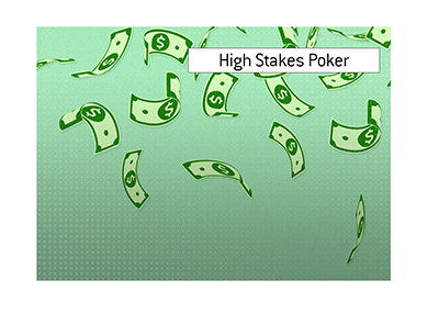 Money up in the air - Illustration.  High Stakes Poker.