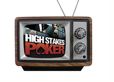 high stakes poker logo on an old school television set