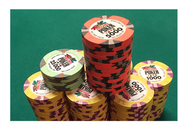 Chip stack belonging to poker player Ian Johns at the 2016 WSOP in Las Vegas