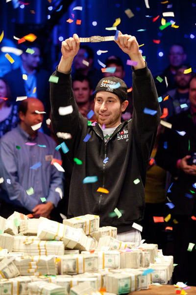 Jonathan Duhamel Wins it all in 2010 - Holding the WSOP Bracelet up in the air