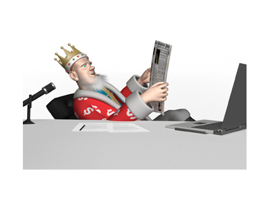 The King is sitting in his office and reading the papers, surprised to find out about Absolute payouts.