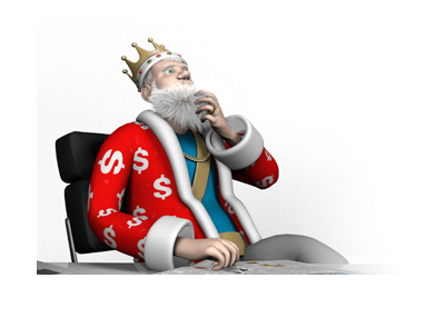 The King is sitting in his office high chair and scratching his beard.