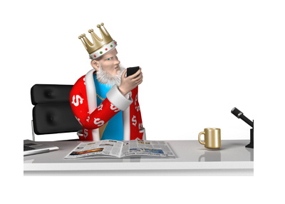The King is checking his phone.  Tilting his head, while processing the news.