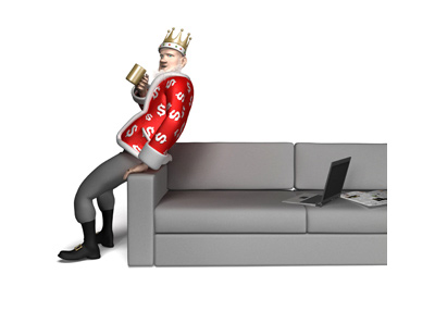 The King is leaning on the couch and drinking coffee out of his golden mug.  The topic of conversation is poker.