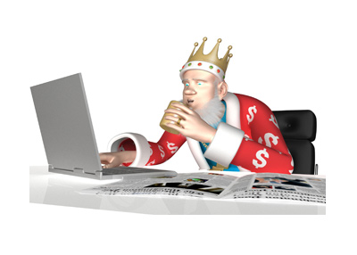 The Poker King is sitting in his office and surfing the web while sipping on coffee.  Newspapers are in front.