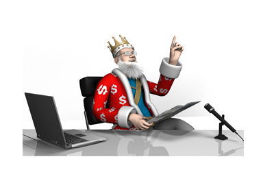 The King is sitting in his office reading the papers.  Pointing out an interesting financial fact.