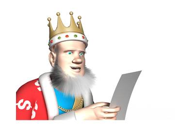 The King is reading the news from a sheet of paper.  The topic is online poker and gambling in the Trump era.