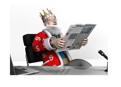 The King is sitting at his office and reading the newspaper.  Happy about the news.