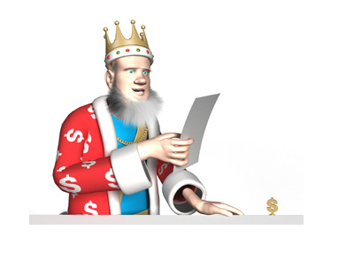 The King is reading the latest poker news.  Aria Poker tournament is the subject.