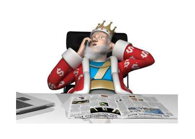 The King is sitting in his office and receiging important poker news via his golden cellphone.